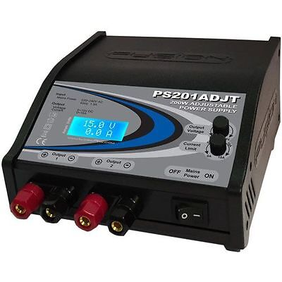 Fusion PS201ADJT 200W 5-15V Twin Output Adjustable Bench Top Power Supply