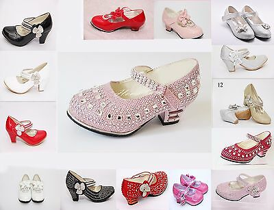Girls Childrens Kids Party Shoes Sandals Diamante Wedding Occasion Heel Size 7-3