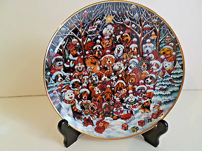 """Franklin Mint Heirloom Collectors Plate """"SANTA PAWS  Holiday Christmas Dogs"""