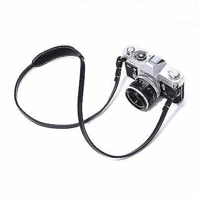 CANPIS Black Genuine Leather Camera Neck Shoulder Strap For SLR Sony Leica Nikon