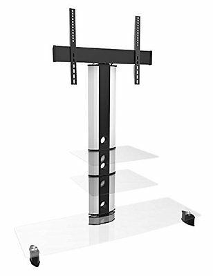"""WhiteTV Stand with Swivel 22""""- 70"""" Flat Screen Clear 3 Glass Cantilever TV unit"""
