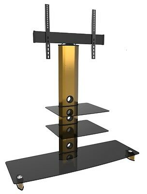 """Gold TV Stand with Swivel 22""""- 65"""" Flat Screen Black 3 Glass Cantilever TV unit"""