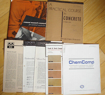 vint CEMENT  MASON'S  MANUAL and PRACTICAL COURSE in CONCRETE 2 Bks and Leaflets