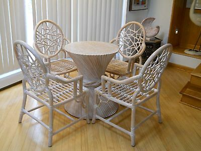 Vintage McGuire Bamboo Dining Table and Cracked Ice Chairs Set Chinoiserie