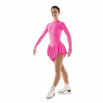 Girls Nylon Lycra Ice Skating Dress With Turtle Neck & Keyhole Back (5 Colours)