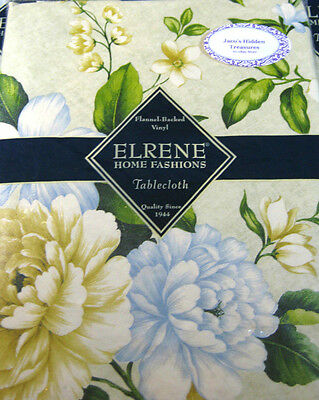 Flannel Back Vinyl Floral Tablecloths by Elrene Assorted Sizes Oblong & Rd.