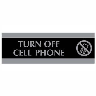 HeadLine Sign Century Series 3 x 9 Inch Turn Off Cell Phone Sign Black and Si...