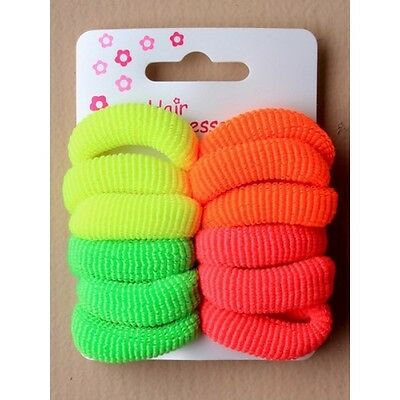 pack of 12  neon hair ponios for girls pony tails hair ties elasticated stretch