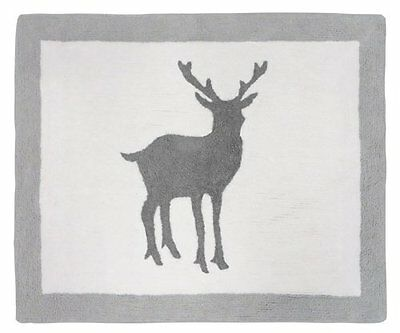 Sweet Jojo Designs Accent Floor Rug for Grey and White Woodland Animals Kids