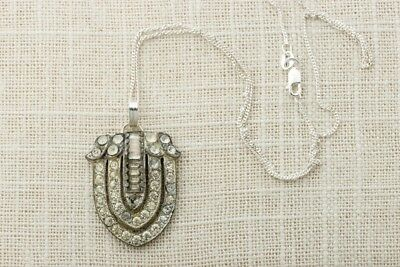 Art Deco Necklace Sterling Silver Chain Simple Rhinestone Pendant 925 1920s 16E