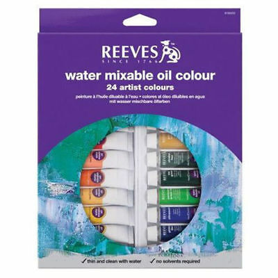 Reeves Water Mixable Oil Colour Tube Sets - 12x10ml - 18x10ml - 24x10ml
