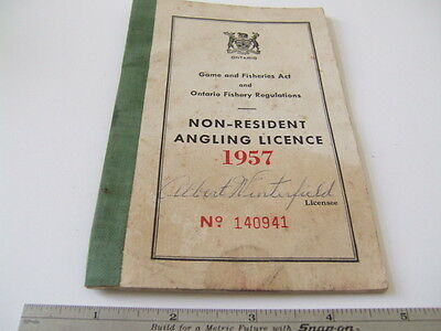 1957 Ontario Canada Non-Resident Angling Licence License