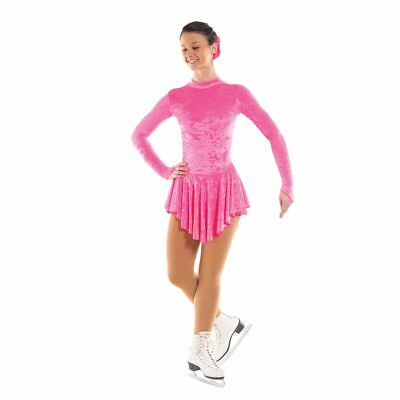 Girls / Ladies Crushed Velvet Ice Skating Dress With Turtle Neck & Keyhole Back