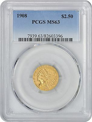 1908 $2.50 Two and a Half Dollar Gold MS63 PCGS Indian Mint State 63