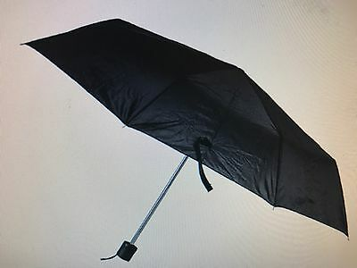 "Folding Umbrella Mini Portable Compact Emergency Black 42""arc Mens/Ladies"