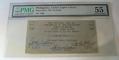 Highly Rare 1942 Philippines - Culion Leper Colony 20 Pesos - Pmg Graded Au 55