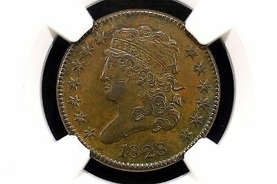 1828 Classic Head Half Cent NGC Graded AU 58, Brown and Lustrous