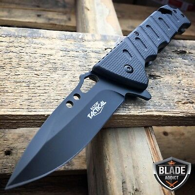 """8"""" Tactical Military Spring Assisted Rescue Pocket Folding OPEN Knife BLACK NEW"""