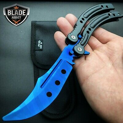CSGO Practice Knife Balisong Butterfly Trainer Blade - Non Sharp Dull - Blue GY