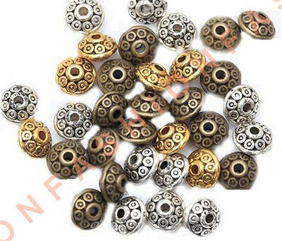 50/500 Rondelle Antique Metal Alloy Bicone Spacer Beads 6mm for Jewelry Making
