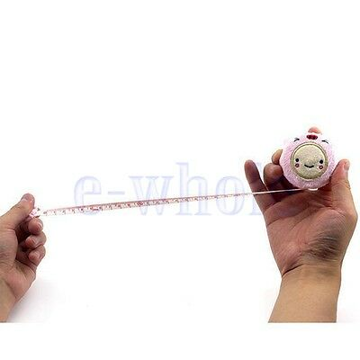 """Lovely 150cm 60""""Cartoon Plush Retractable Tape Measure Ruler Sewing Tool Pink K6"""