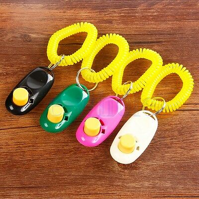 Train Dog Pet Training Clicker Click Button Trainer Obedience Aid Wrist Rose K6