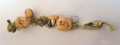 "Antique Vtg SILK PINK RIBBONWORK RIBBON FLOWER ROSE GARLAND SWAG TRIM DOLL 5"" L"