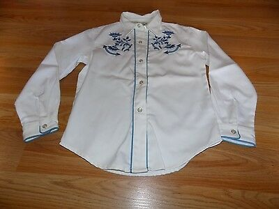 Girl's Size Small 6-6X Roper Western Shirt Top Snap Front White Blue Embroidery