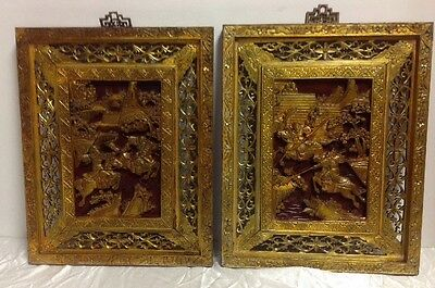 Vintage Pair Chinese Hand Carved Wood Panels Gilded Warriors In Battle Scene