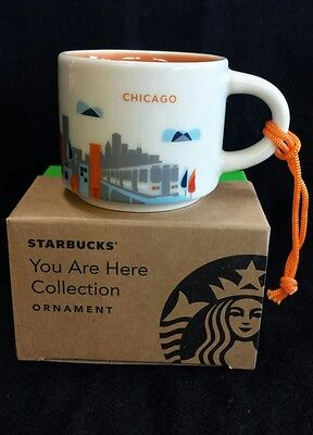 """New with Box Chicago Starbucks """"You Are Here"""" Ornament, 2 oz. Espresso Cup YAH"""