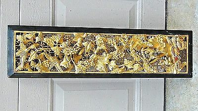 ANTIQUE 19c CHINESE DEEP RELIEF  CARVED PIERCED GILT TEMPLE PANEL W/SQUIRREL