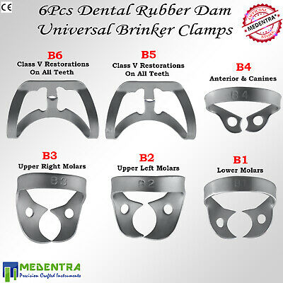 MEDENTRA 6PCS Dental Rubber Dam Clamps Brinker Clamp Tissue Premolar Clamp Molar