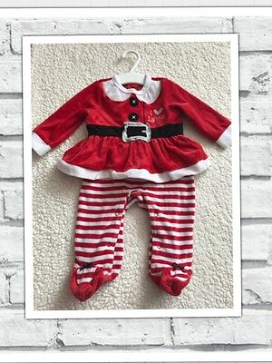 Baby Girls Clothes 3-6 Months - Cute Velour Santa Babygrow Outfit