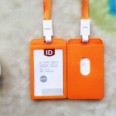 2pcs Plastic Business ID Badge Card Vertical Holders Neck Strap Lanyard Orange