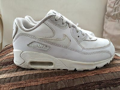 new concept 4dde2 b8edf Nike Air Max 90 White Leather Trainers Size 1 UK Older Boys Girls