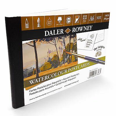 Daler Rowney Watercolour Painting Postcards A6 - 12 x 300gsm Sheets - Made in UK