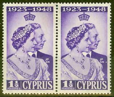 Cyprus 1948 RSW 1 1/2pi Violet SG166a Extra Decoration in Pair V.F MNH