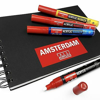 Royal Talens - Amsterdam Acrylic Paint Marker & A5 Sketchbook Set - Intro Pack