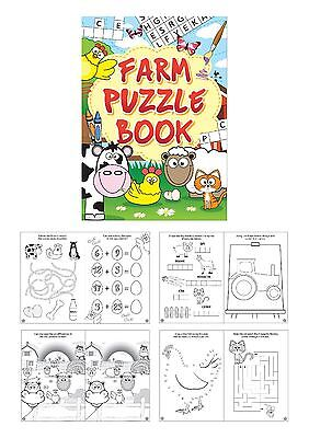 Childrens Farm Puzzle Books Party Bag Fillers Birthday Gift Wedding Lucky Dip