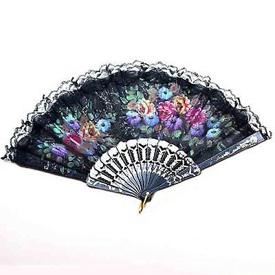 Fashion Spanish Lace Silk Flower Folding Hand Held Dance Party Wedding Fan UK