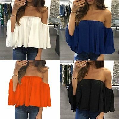 Fashion Women's Summer Off Shoulder Long Sleeve Casual Blouse Loose Tops T Shirt