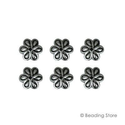 6 or 50 925 Sterling Silver Bead Caps 8mm Flower Cap 1.3mm Hole Oxidized