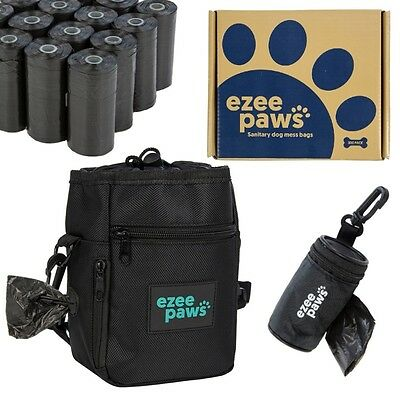 Dog Treat Walking Bag with 300 Poo Bags on Rolls & Holder with Dispenser Bundle
