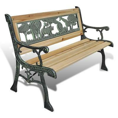 Kids Childrens Wooden Animal Pattern Garden Outdoor Classic Bench Seat Chair
