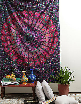Indian Decor Peacock Mandala Tapestry Wall Hanging Hippie Throw Bohemian