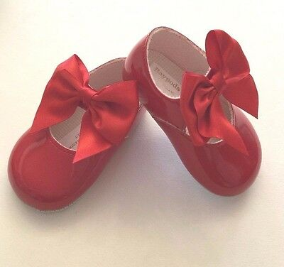Baby Girls Spanish Romany Style Large Bow Red Patent Pram Shoes by Baypods