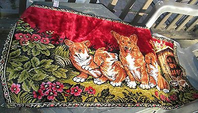 Vintage Dog Tapestry Welsh Corgi Made in Italy Red Velveteen 38x19 Wall Hanging