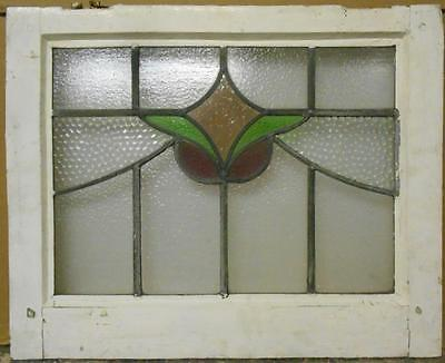 "MID SIZED OLD ENGLISH LEADED STAINED GLASS WINDOW Pretty Floral 24"" x 19.5"""