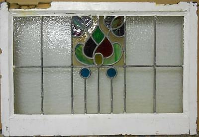 "MID SIZED OLD ENGLISH LEADED STAINED GLASS WINDOW Amazing Floral 27.75"" x 19"""