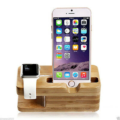 Bambus Holz Ständer für Apple iPhone - i Watch 38 42mm Halterung Dockingstation